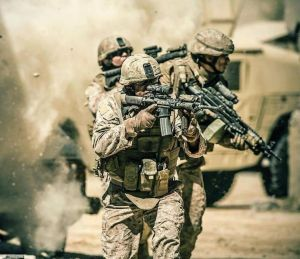 Marines firefight